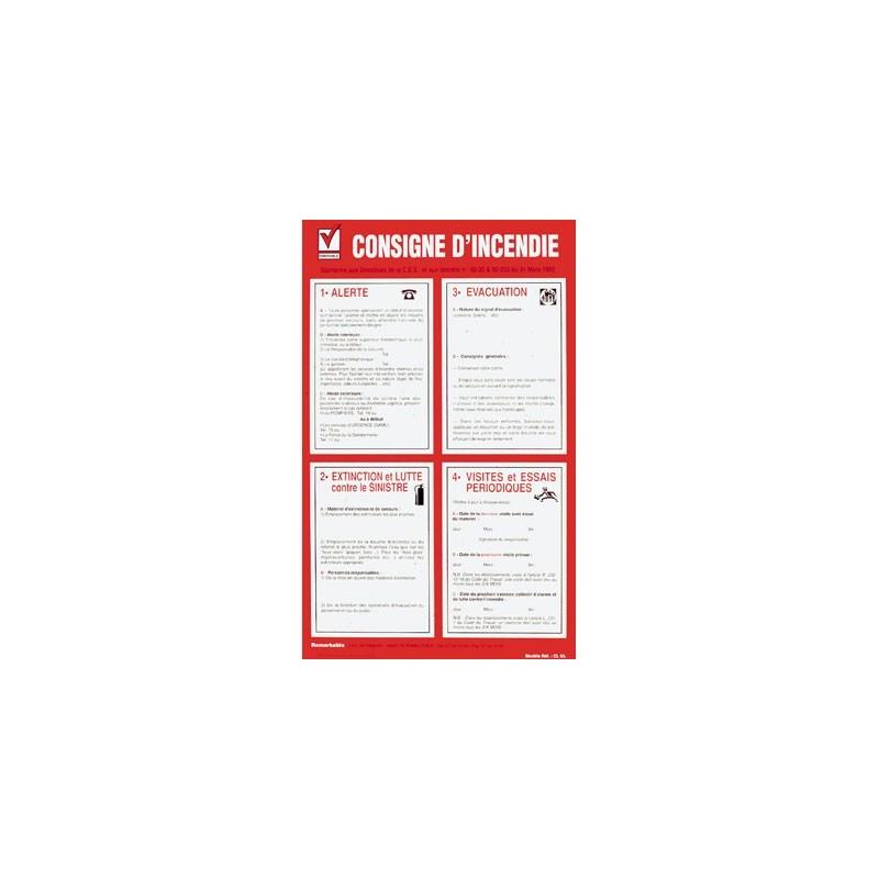 panneau consignes d'incendie - Affichage obligatoire