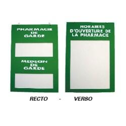 plaque plexilass 200x285mm recto/verso pharmacie medecin de garde et horaires