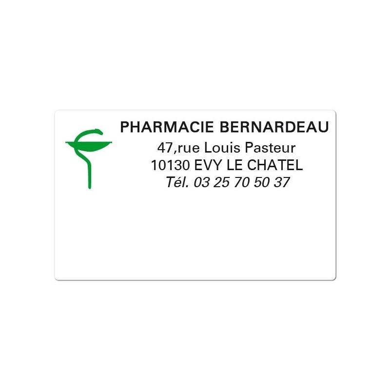 Etiquette Pharmacie 63x38mm personnalisée Par 500