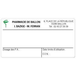 Etiquette Pharmacie 70x37mm personnalisée Par 500