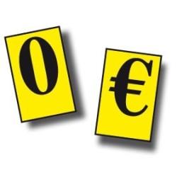 Caractères prix 20mm Euros et zero (lot de 110) texte noir