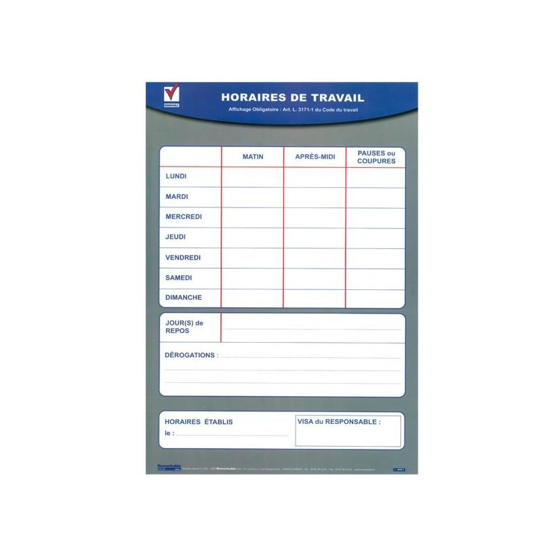 AFFICHAGE HORAIRES COLLECTIFS DE TRAVAIL