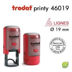 Tampon Trodat Printy 46019 Rond pour 4 lignes, Diamètre 19mm