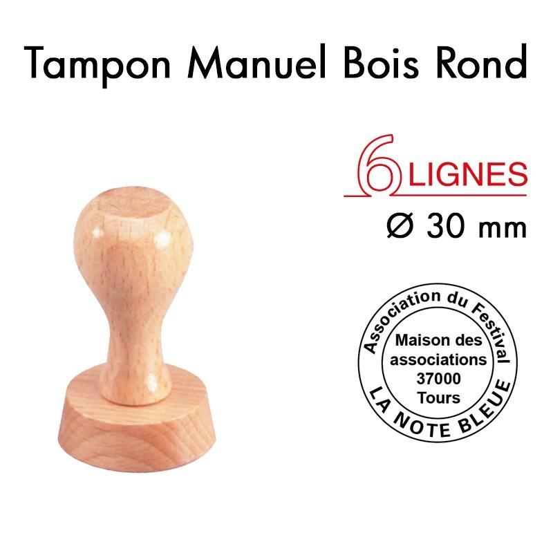 TAMPON MONTURE BOIS TEXTE DIAM 30 MM