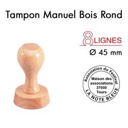 Tampon Manuel Manche Bois Rond pour 8 lignes, Diamètre 45mm