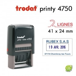 Tampon Dateur Trodat Printy 4750, 2 lignes (41x24mm)