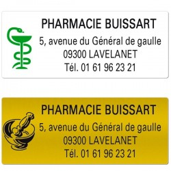 Etiquette Pharmacie 50 x 20 mm personnalisée Par 500