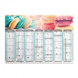 Calendrier mural A3 Collection 2017 - Macarons