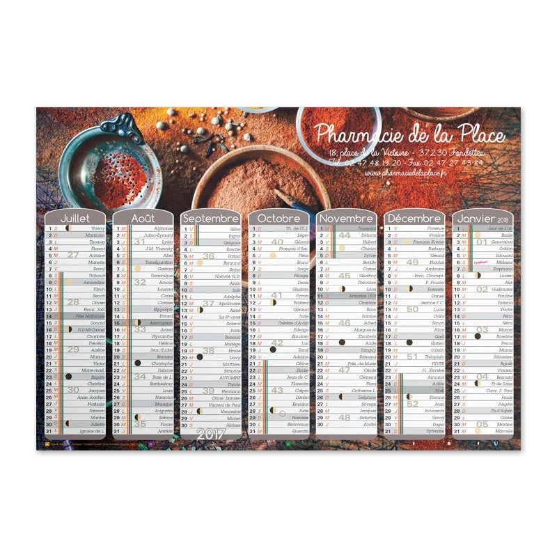 Calendrier mural a3 collection 2017 epices rubex pharma for Calendrier mural 2017