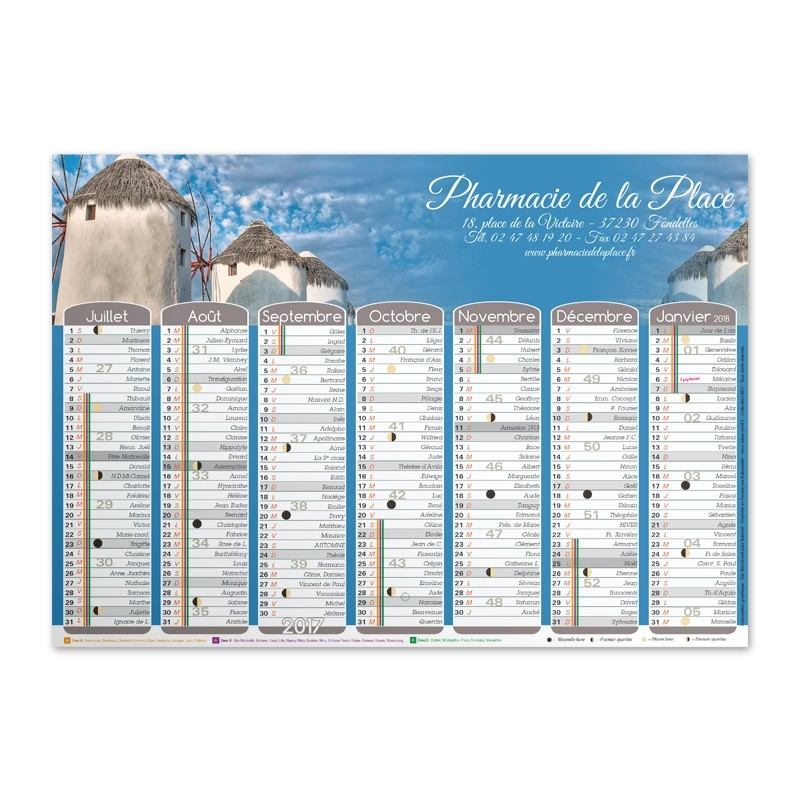 Calendrier mural a3 collection 2017 gr ce rubex pharma for Grand calendrier mural 2017