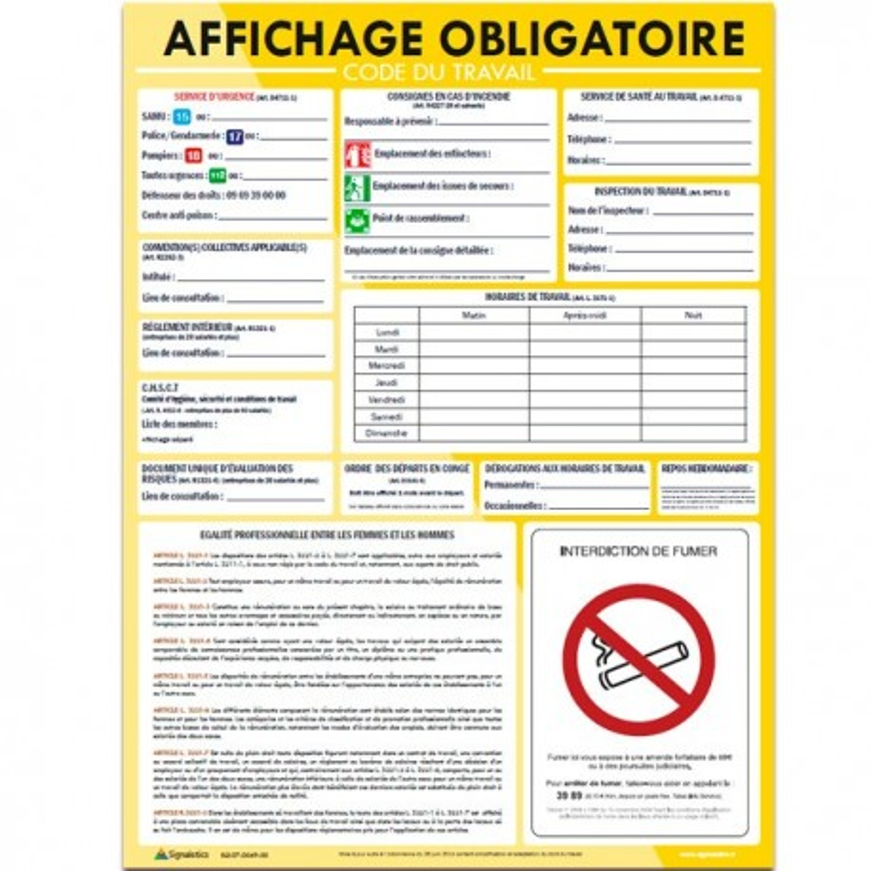 Panneau Code du Travail - Affichage Obligatoire - 44 x 60 cm