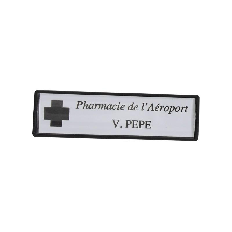 Badge Luxe Personnalisé 72x20mm gravure Noirepitch