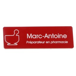 Badge en acrylique arrondi rouge