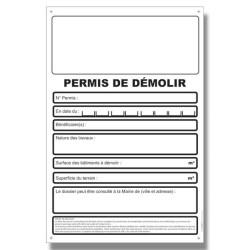Panneau Akylux 80x120cm, imprimé quadri Recto, Permis démolition