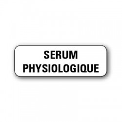 "Etiquette pharmacie 35,6x16,9mm ""serum physiologique"" par 720"