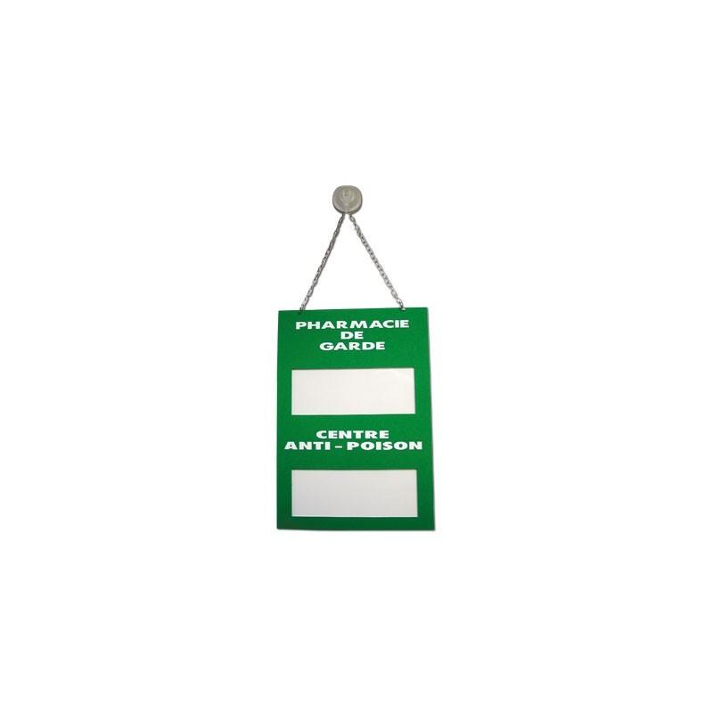 """Plaque signalétique """"Pharmacie de garde/Centre anti poison"""" en plexiglass"""