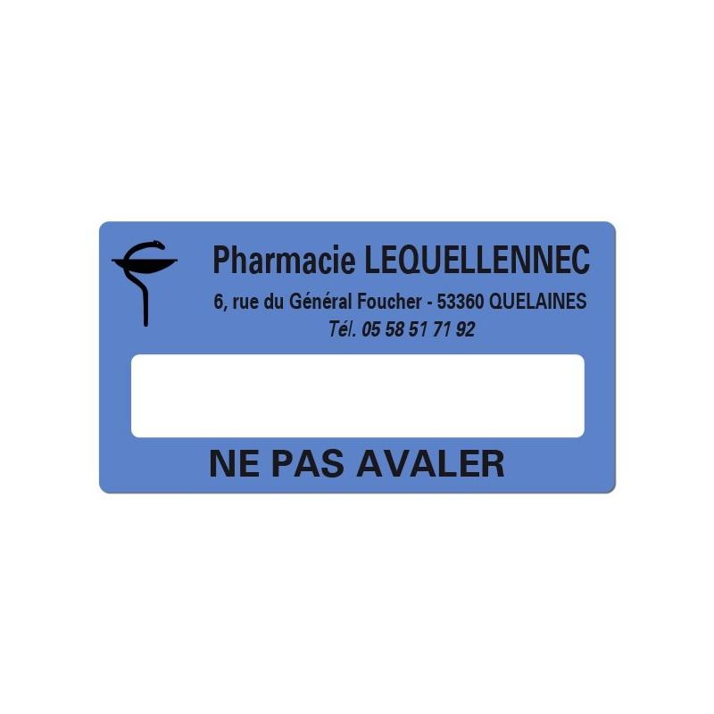Etiquette Pharmacie 48,5x25,4mm personnalisée Par 500