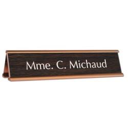 Chevalet de bureau avec plaque acrylique gravée 17,7x2,5cm