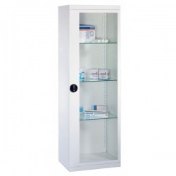 Armoire médicale avec 1 porte vitrée - 144 x 53 x 36 cm