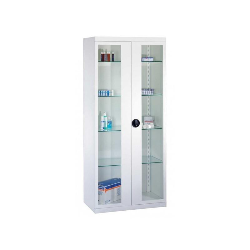 Armoire médicale avec 2 porte vitrée - 180 x 80 x 25 cm