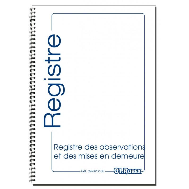 REGISTRE OBSERVATIONS ET MISES EN DEMEURE
