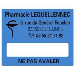 Etiquette bleue Pharmacie 50x40mm personnalisée Par 500