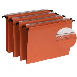 Dossier suspendu orange tiroir fond 15mm par 25 volet d'agrafage