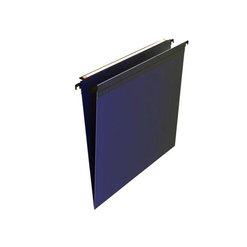 Dossiers suspendus tiroirs polypro. bleu, fond en V, volet d'agrafage, par 10
