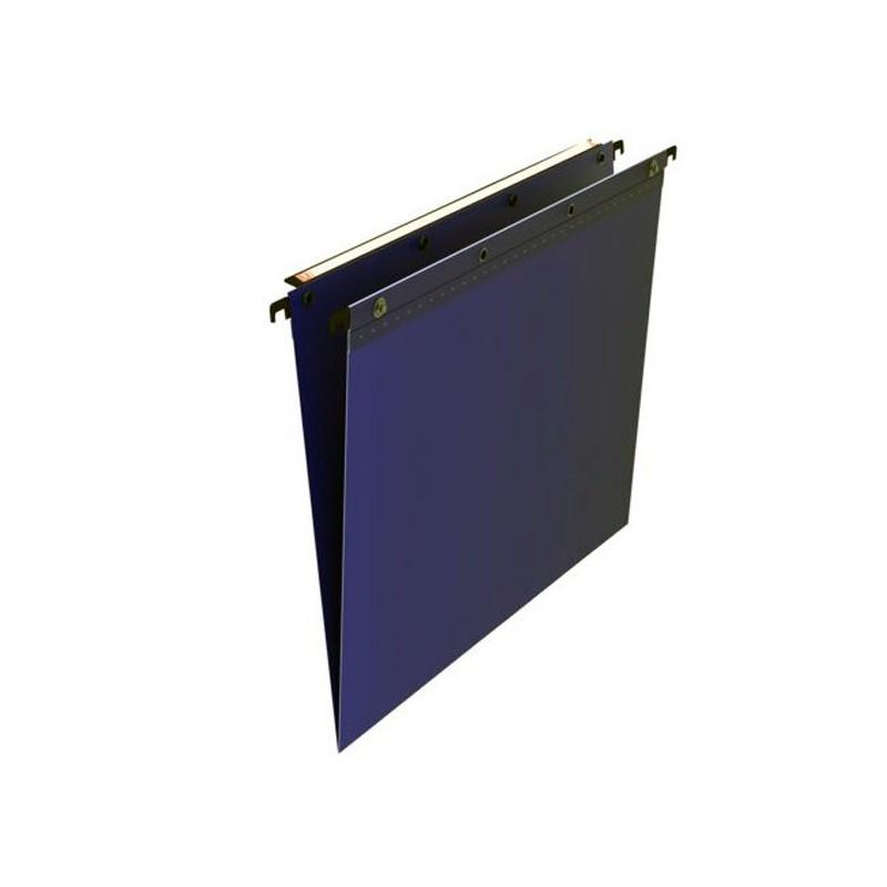 Dossiers suspendus tiroirs polypro. bleu, fond en V, boutons pression, par 10