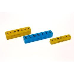 Piluliers hebdomadaires en 3 tailles panachées
