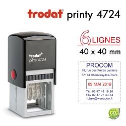 Tampon Dateur Trodat Printy 4724, 6 lignes, (40x40mm)