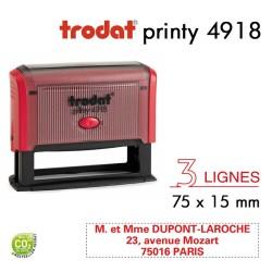 Tampon Trodat Printy 4918, texte 3 lignes (75x15mm)