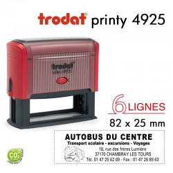 Tampon Trodat Printy 4925, texte 6 lignes (82x25mm)