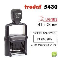 Tampon Dateur Trodat Métal line 5430, 2 lignes (41x24mm)