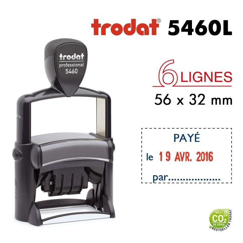 Tampon Dateur Trodat Métal line 5460L2 Payé le.. (56x32mm)