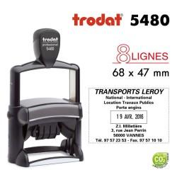 Tampon Dateur Trodat Métal line 5480, 8 lignes (68x47mm)
