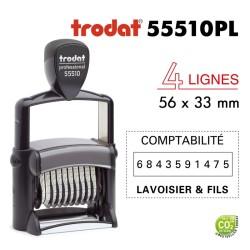 Numéroteur Trodat Metal Line 55510PL (56x33mm), 4 lignes, 10 chiffres