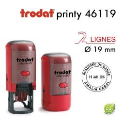 Tampon Dateur Trodat Printy 46119, Rond, 2 ligne, D19mm