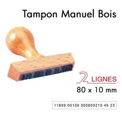 Tampon Manuel Manche Bois pour 2 lignes 80x10mm