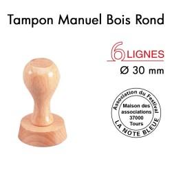Tampon Manuel Manche Bois Rond pour 6 lignes, Diamètre 30mm