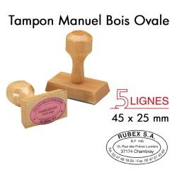 Tampon Manuel Manche Bois Ovale pour 5 lignes, 45x25mm
