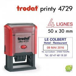 Tampon Dateur Trodat Printy 4729, 4 lignes (50x30mm)