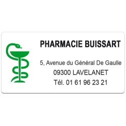 Etiquette Pharmacie 38x19mm personnalisée Par 480