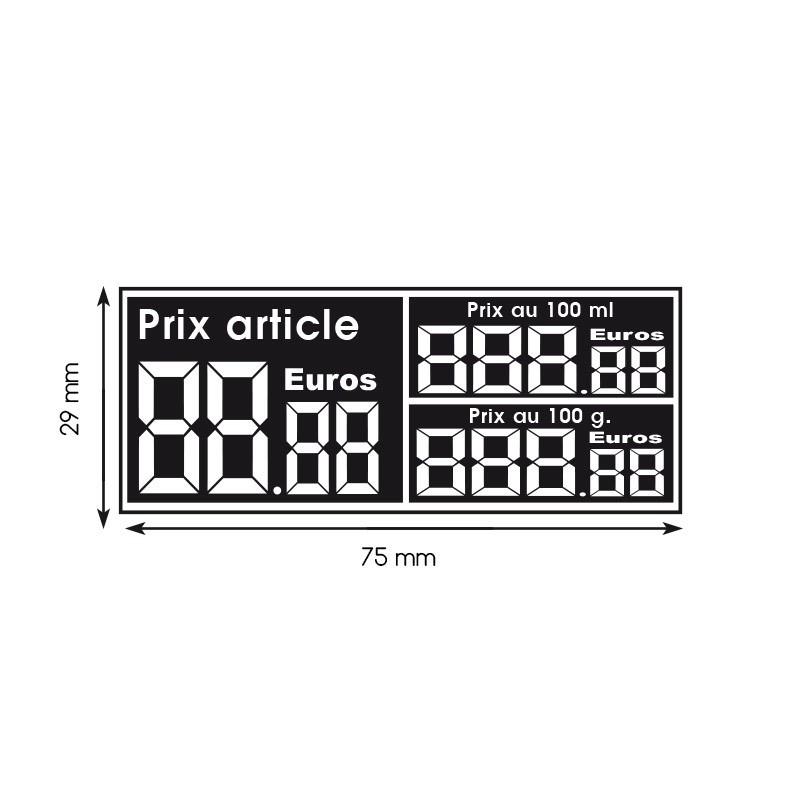 Etiquette digiprix 29x75mm article/100g/100ml (lot de 390)