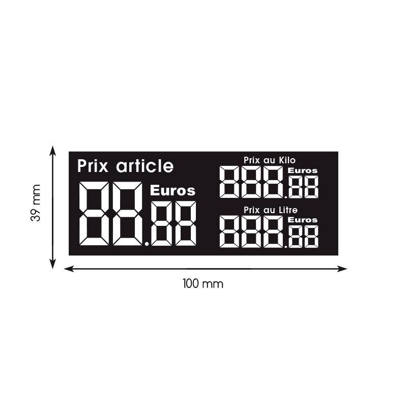 Etiquette digiprix 39x100mm article/kilo/litre (lot de 240)