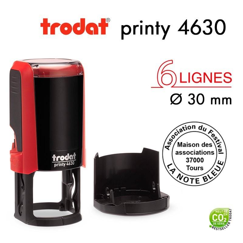 Tampon Trodat Printy 4630 Rond pour 6 lignes, Diamètre 30mm