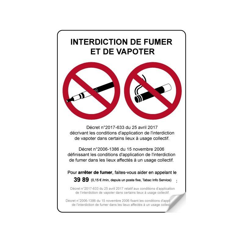 Interdiction de fumer et de vapoter
