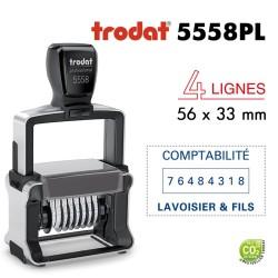 Numéroteur Trodat Metal Line 5558PL (56x33mm), 4 lignes, 8 chiffres