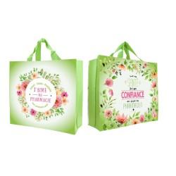 "Cabas Vert motif floral ""J'aime ma pharmacie"""