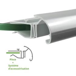 Rail avec pince pour tablettes en verre de 6 à 8 mm